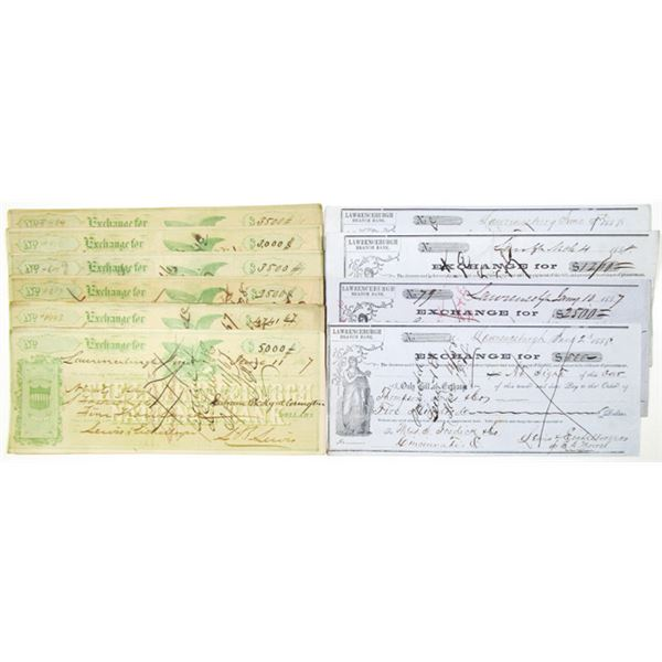 Lawrenceburgh Bank and National Bank, ca. 1857-1867 Issued and Cancelled Exchange Checks.