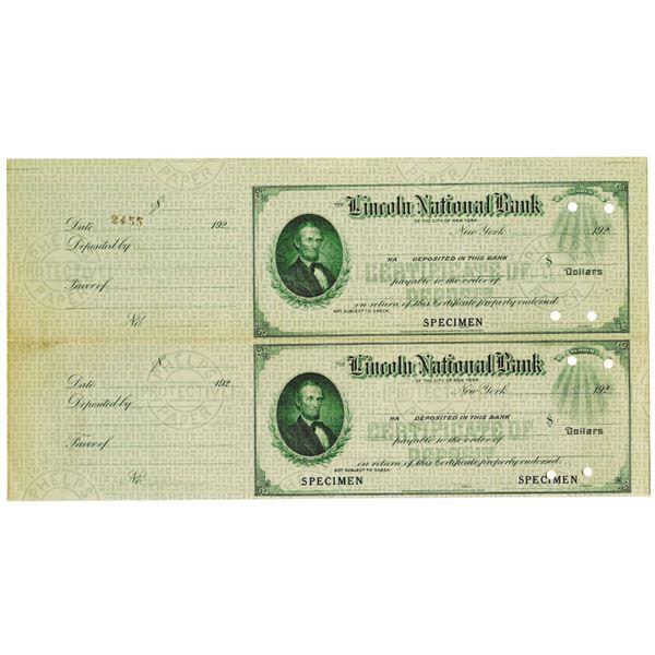 Lincoln National Bank, 1920's Uncut Specimen Check Pair