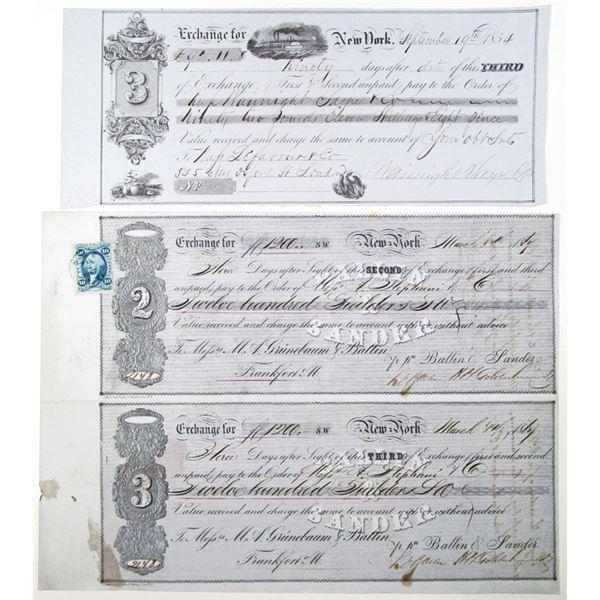 New York, ca. 1854-1867 Trio of Issued Bills of Exchange.