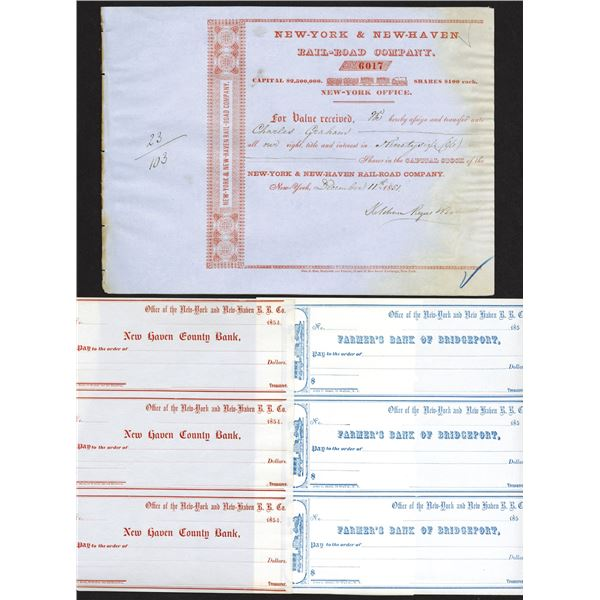 New York & New Haven Rail Road Co. 1850s Stock Transfer & Check Group