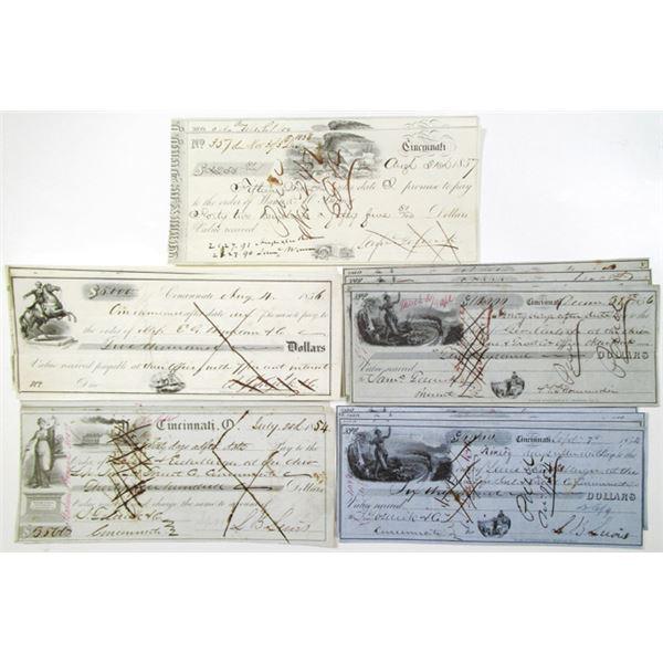 Cincinnati, Ohio Financial Institutions, Group of 16 Issued Checks, ca. 1854-1859