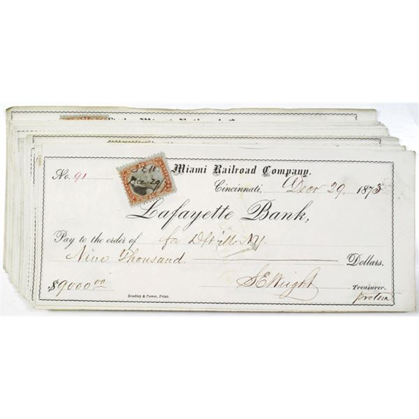 Little Miami Rail Road Co., Lafayette Bank Issued Check Group of 26, ca. 1873-1874