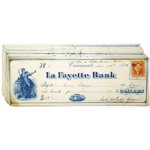 Little Miami Railroad, La Fayette Bank Issued Check Assortment, 1870