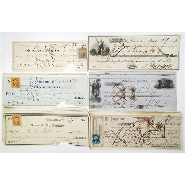Lawrenceburgh Bank and National Bank, Group of Over 35 Issued Checks, ca. 1855-1872