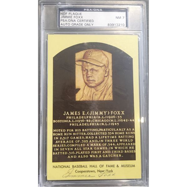 Jimmie Foxx Autographed Yellow Hall of Fame Postcard Signed on the Front. PSA/DNA Encapsulated and G