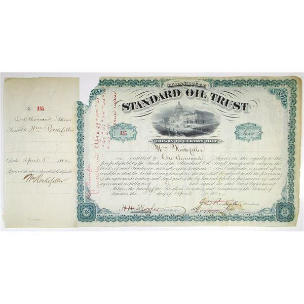Standard Oil Trust 1882 I/C Stock Certificate #135 Signed by John D. Rockefeller, Abel Bostwick, and