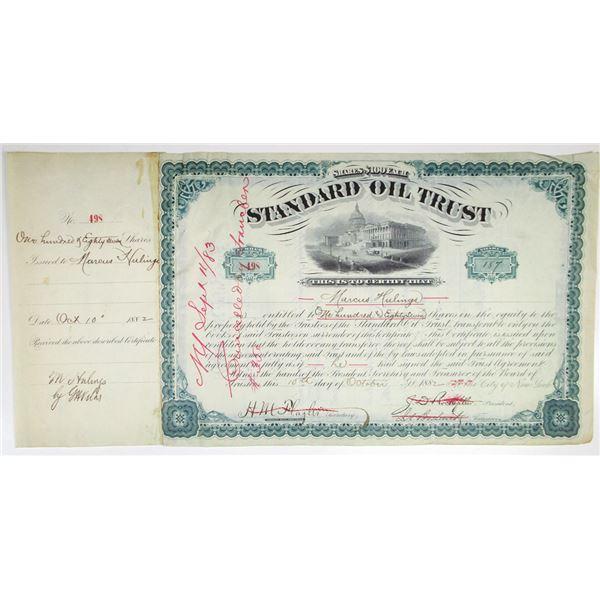 Standard Oil Trust 1882 I/C Stock Certificate #498 Signed by John D. Rockefeller, Henry M. Flagler,