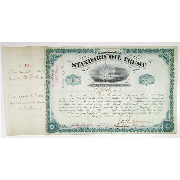 Standard Oil Trust 1882 Stock Certificate Signed by J.D. Rockefeller
