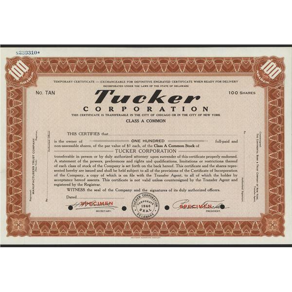 Tucker Corporation, 1946 Specimen Stock Certificate
