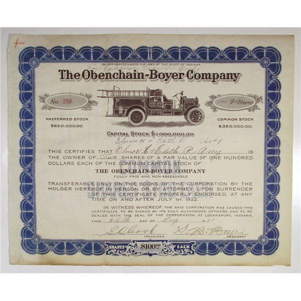 Obenchain-Boyer Co. 1921 I/U Early Fire Truck Company Stock Certificate