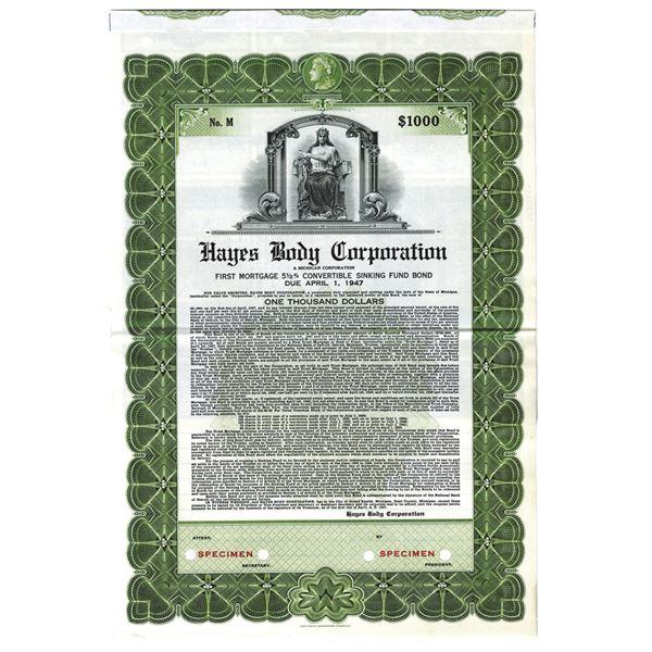 Hayes Body Corp., 1937 Specimen Bond