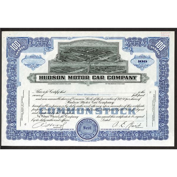 Hudson Motor Car Co., 1949 Uniface Proof Stock Certificate.