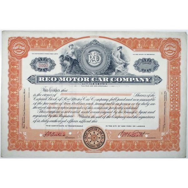 REO Motor Car Co., 1920's Specimen Stock Certificate