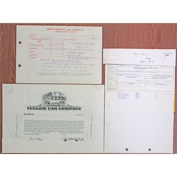 Yellow Cab Co. 1955 Progress Proof Stock Certificate With Additional Design Element Proofs and Produ