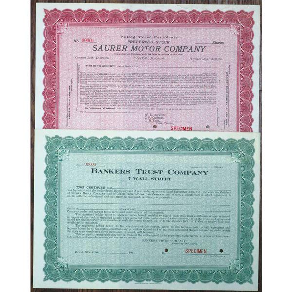 Sauer Motor Company 1911 & 1915 Automobile Related Specimen Stock Certificate Pair.