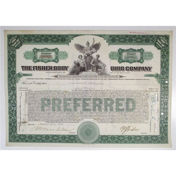 Fisher Body Ohio Co. 1922 Issued Stock Certificate, Acquired by General Motors