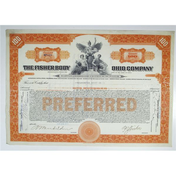 Fisher Body Ohio Co. 1925 Issued Stock Certificate, Acquired by General Motors