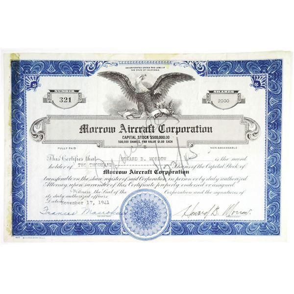 Morrow Aircraft Corp. 1941 I/C Stock Certificate
