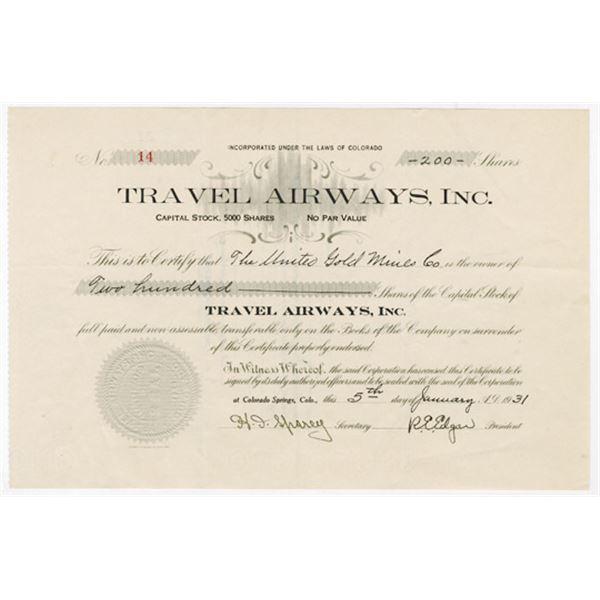 Travel Airways, Inc., 1931 I/U Stock Certificate