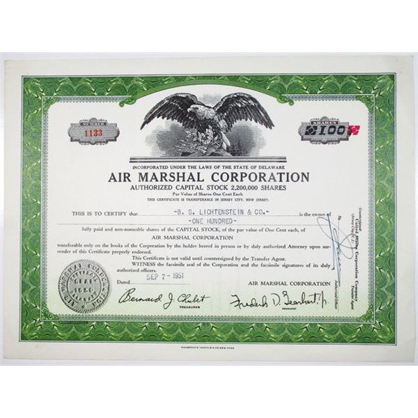 Air Marshal Corp. 1951 I/U Stock Certificate