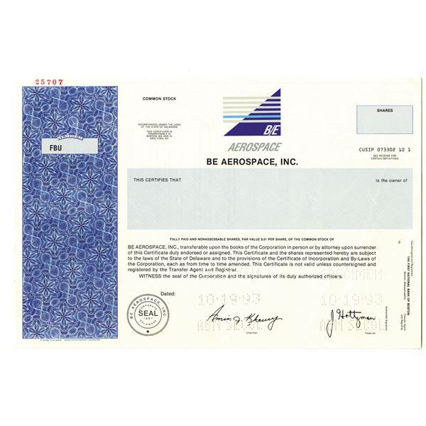 B/E Aerospace, Inc. 1993 Specimen Stock Certificate
