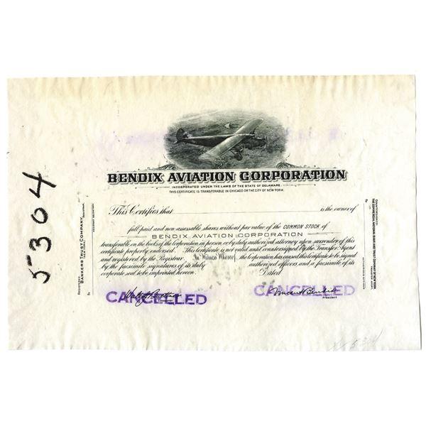 Bendix Aviation Corp. Progress Proof Stock Certificate
