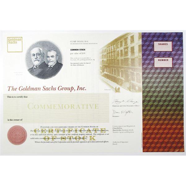 Goldman Sachs Group, Inc., 1998 Commemorative IPO Specimen Stock Certificate