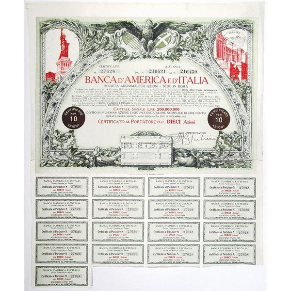 Banca d'America e d'Italia 1917 I/U Stock Certificate