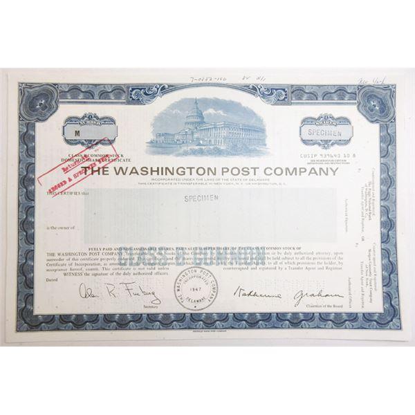 Washington Post Co., 1984 Specimen Stock Certificate With Facsimile Signature of Katherine Graham.