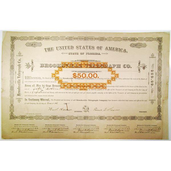 Brooksville Telegraph Co. 1885 I/U Bond