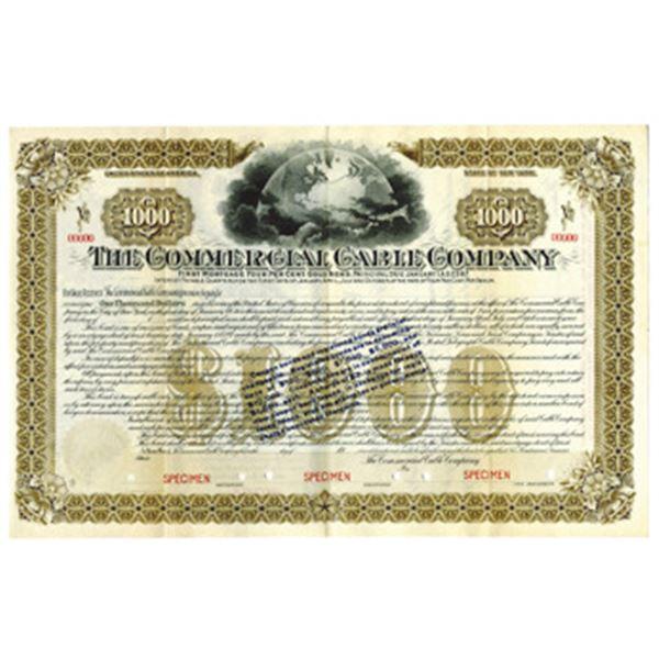 Commercial Cable Co. 1900-1910 Specimen Bond