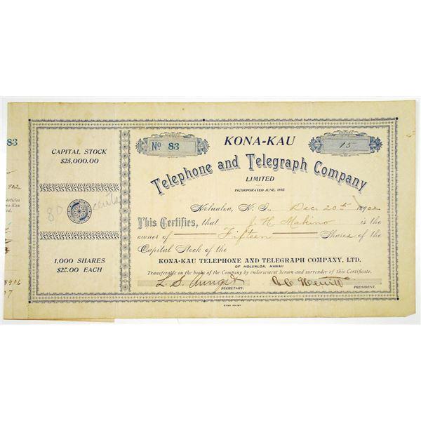 Kona-Kau Telephone and Telegraph Co., Ltd. 1902 I/C Stock Certificate