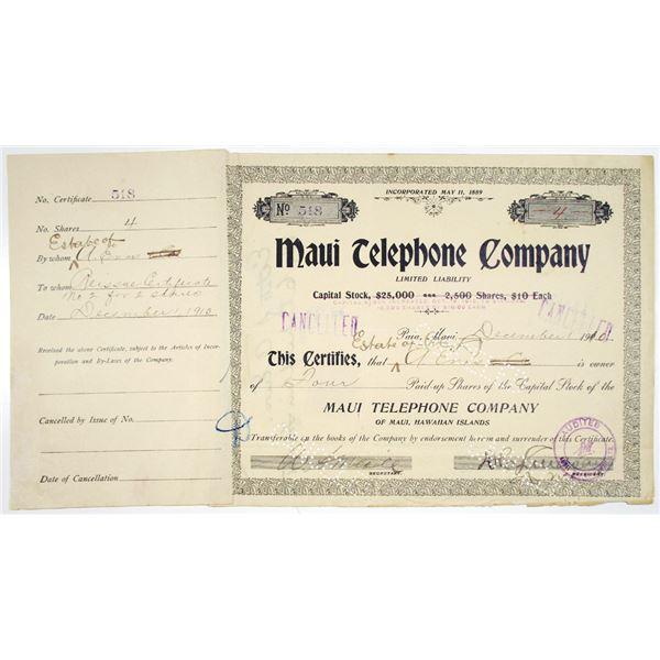 Maui Telephone Co. 1910 I/C Stock Certificate