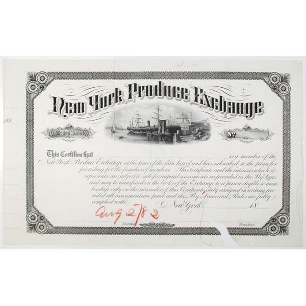 New York Produce Exchange 1882 Proof Certificate of Membership