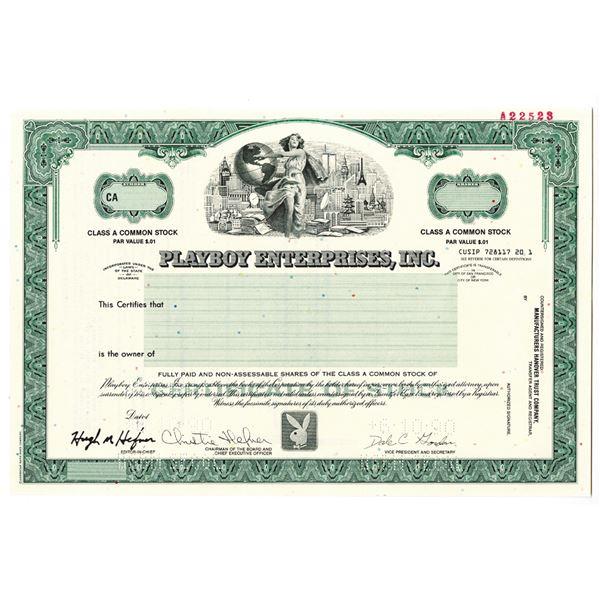 Playboy Enterprises, Inc. 1990 Specimen Stock Certificate