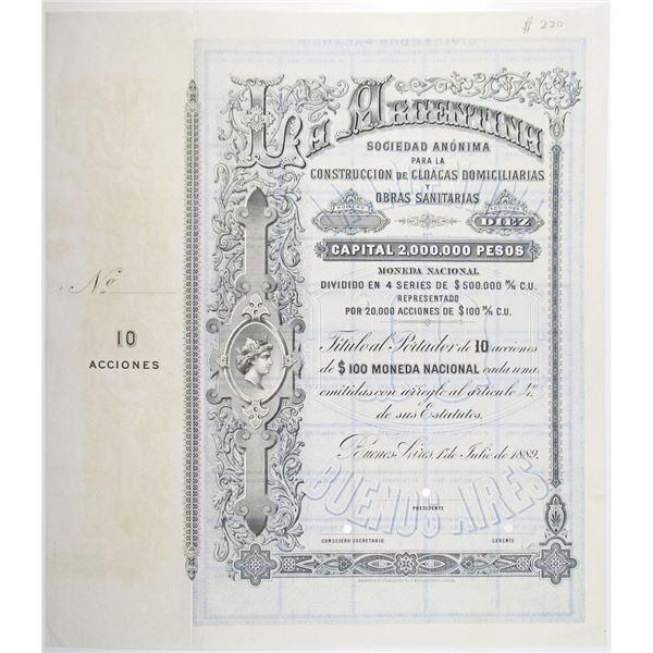 La Argentina Sociedad Anonima 1889 Specimen Stock Certificate