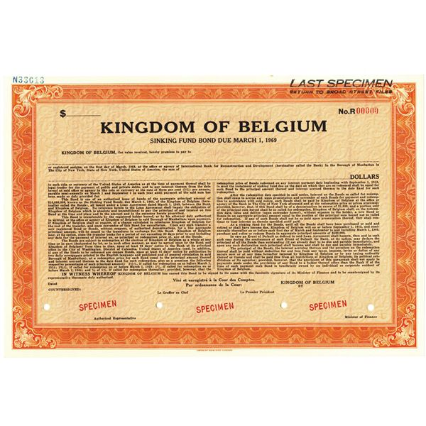 Kingdom of Belgium, 1949 Specimen Sinking Fund Bond.