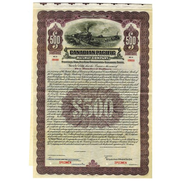 Canadian Pacific Railway Co., 1922 Specimen Bond