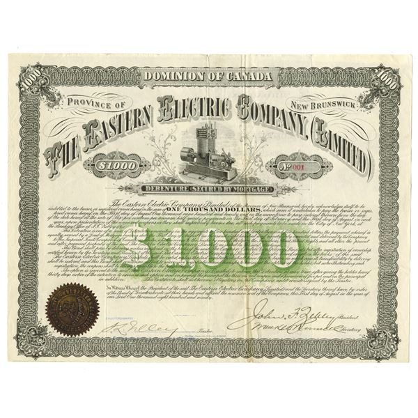 Eastern Electric Co., Ltd. 1890 I/U Coupon Bond, Serial #1 Certificate.
