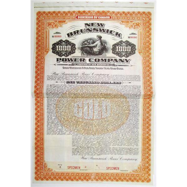 New Brunswick Power Co. 1917 Specimen Bond