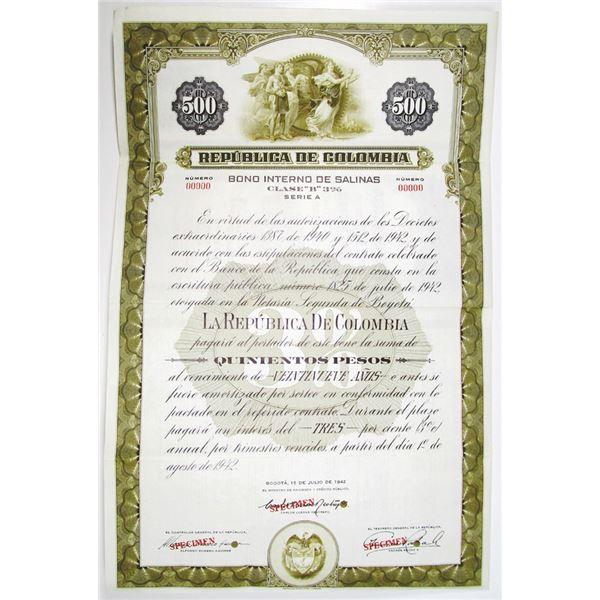 Republica de Colombia 1942 Specimen Bond
