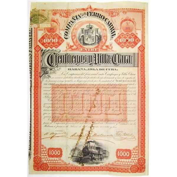 Compania del Ferro-Carril entre Cienfuegos y Villa-Clara 1893 I/U Bond