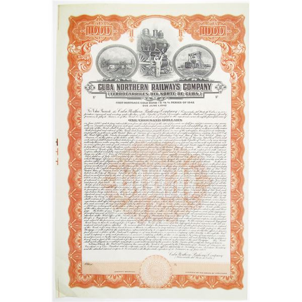 Cuba Northern Railways Co. 1927 Unmarked Specimen Bond