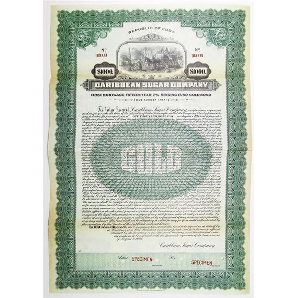 Caribbean Sugar Co. 1926 Specimen Bond