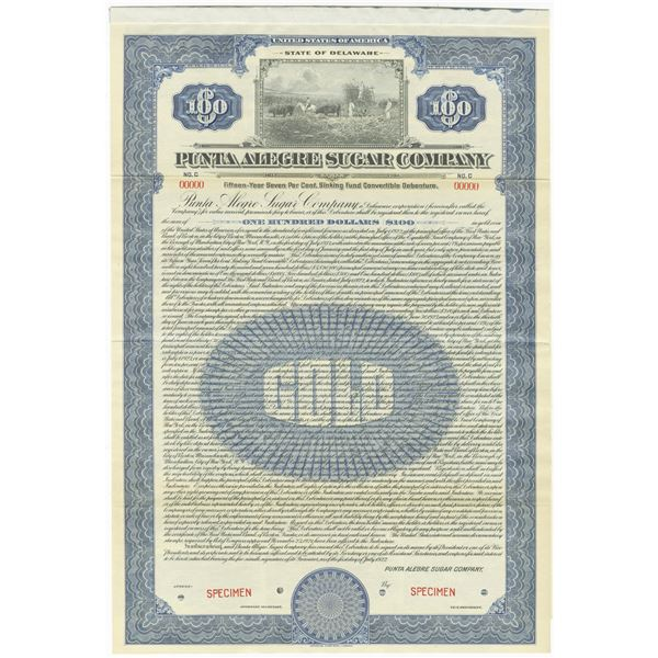 Punta Alegre Sugar Co., 1922 Specimen Bond.