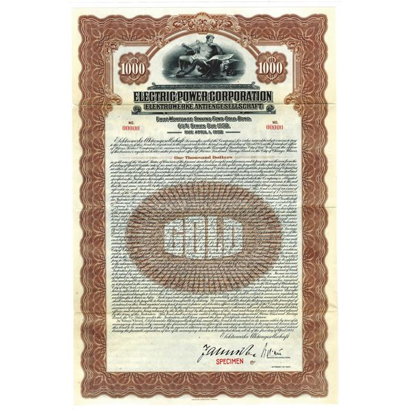 Electric Power Corp., 1928 Specimen Bond