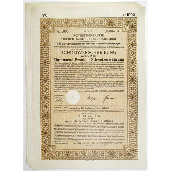 Konversionskasse, Germany Foreign Debt, 1935 I/C Bond Group of 10