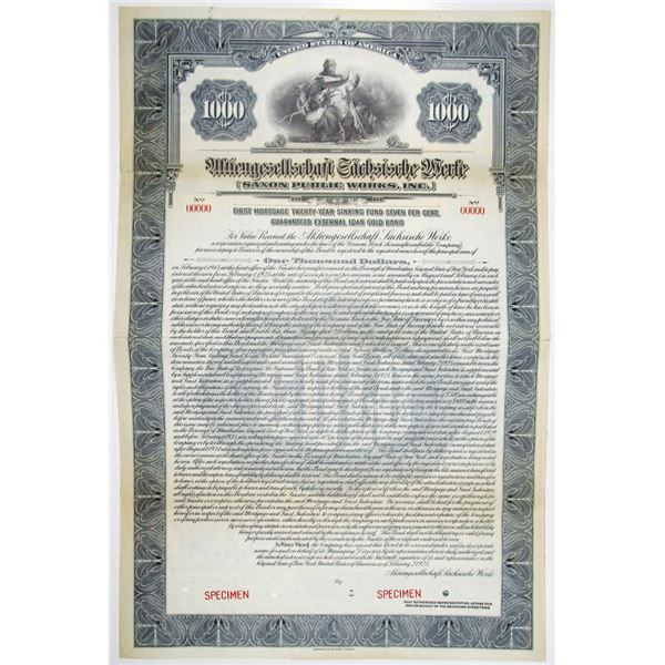 Saxon Public Works, Inc. 1925 Specimen Bond