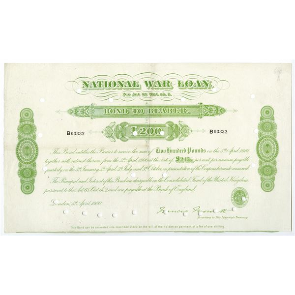 National War Loan 1900, I/C Bearer Bond