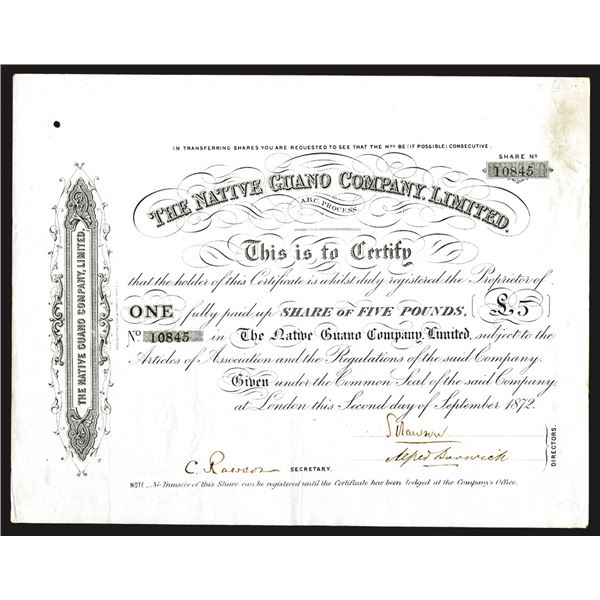 Native Guano Co. Ltd., 1872 I/U Share Certificate.